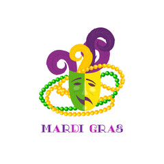 Mardi Gras celebration. Freehand cartoon fancy letters. Masquerade street parade traditional beads mask symbols. Traditional holiday carnival invitation. Vector headline decoration banner background