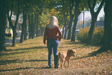 Woman walking at park with her dog