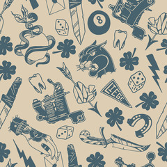 Seamless pattern texture background with old school traditional tattoo designs