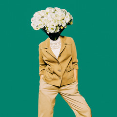 Minimal Vintage Lady. Head Bouquet. Contemporary Art.