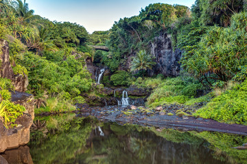 Lush , Tropical and Calm reflection in the morning at oheo gulch or seven pools , Haleakala National Park on the East side of Maui, Hawaii.