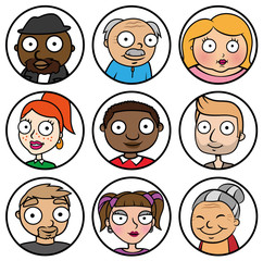 Cartoon vector design illustration of people face icons, different ethnicity friends, diversity concept