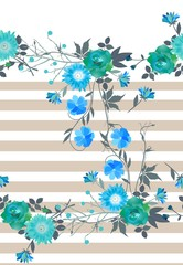 Beautiful seamless pattern with stripes and flowers. Print for T-shirt. Vector illustration.
