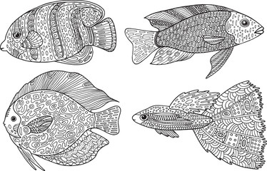 Doodle zentangle fish. Zen art coloring page for adults