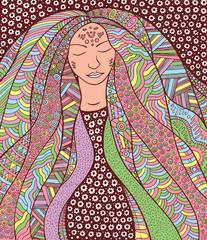 Shaman hippie girl with ornate hair. Allegory for Icelandic Aurora Borealis