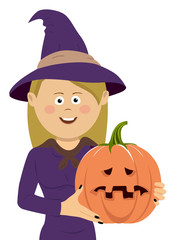 Halloween witch with magic pumpkin. Beautiful young woman in witches hat and costume holding carved pumpkin