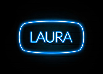 Laura  - colorful Neon Sign on brickwall