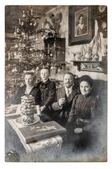 Old family photo Vintage home interior Christmas tree