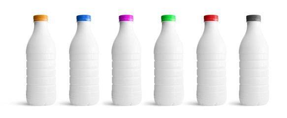 White plastic bottles set with different colours cap