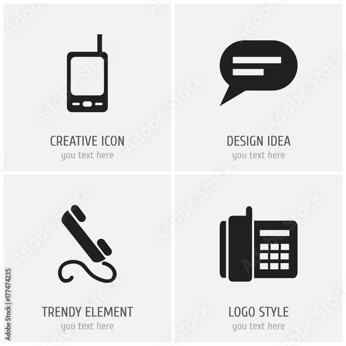 Set Of 4 Editable Device Icons Includes Symbols Such As Home