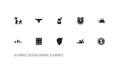 Set Of 10 Editable Folks Icons. Includes Symbols Such As Perambulator, Kin, Cooker And More. Can Be Used For Web, Mobile, UI And Infographic Design.