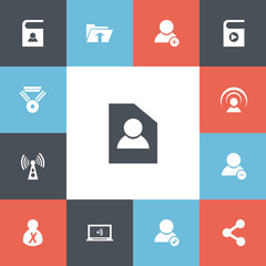 Set Of 13 Editable Internet Icons. Includes Symbols Such As Transfer, New Friend, Publish And More. Can Be Used For Web, Mobile, UI And Infographic Design.