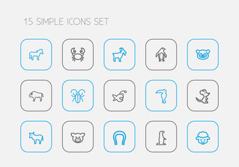 Set Of 15 Editable Animal Outline Icons. Includes Symbols Such As Diver, Insect, Goat And More. Can Be Used For Web, Mobile, UI And Infographic Design.