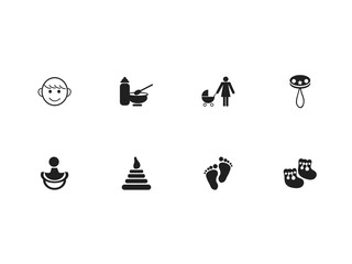 Set Of 8 Editable Baby Icons. Includes Symbols Such As Nutrition, Nipple, Shoes For Babies And More. Can Be Used For Web, Mobile, UI And Infographic Design.