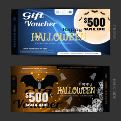 Vector blank of gift voucher to Halloween with vampire, full moon, flock of bats,wave, transparent pumpkins, text, ghosts, sparkles on the gradient dark blue and brown background.