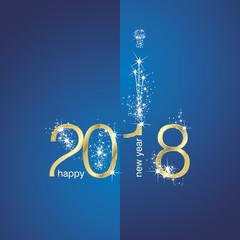 2018 Gold New Year firework blue illustration