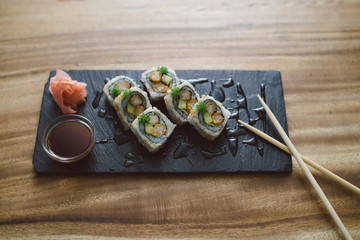 Delicious sushi rolls served at the restaurant