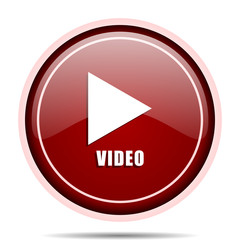 Video red glossy round web icon. Circle isolated internet button for webdesign and smartphone applications.