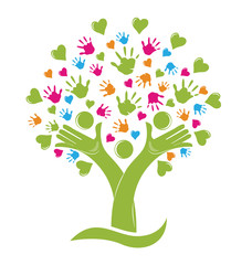 Logo tree hands and heart icon vector design