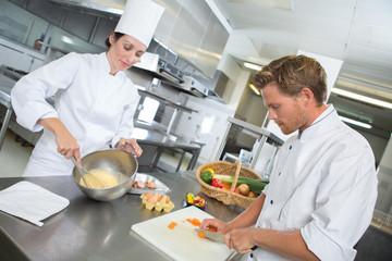 Chefs prepping