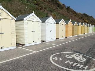 Beach huts, white, cream, beige