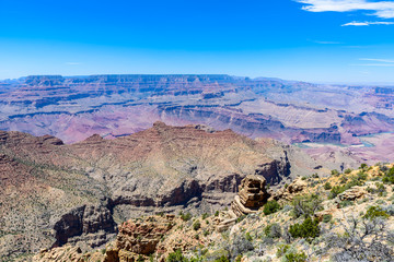 Amazing view of the Desert View Watchtower from Lipan Point in the Grand Canyon, Arizona, USA