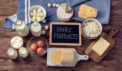 Printed kitchen splashbacks Dairy products Dairy products on wooden background.