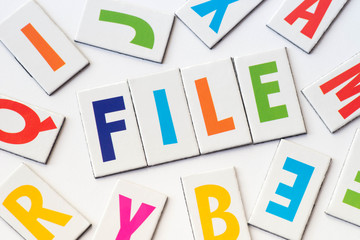 word file  made of colorful letters