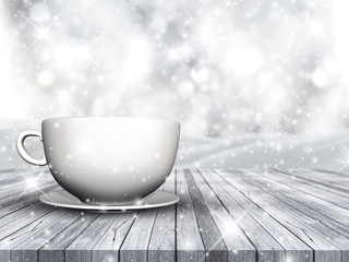 3D cup and saucer on wooden table against Christmas snowflake background