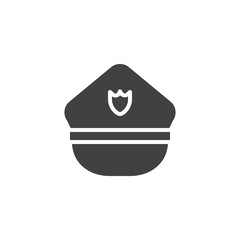 Police hat icon vector, filled flat sign, solid pictogram isolated on white. Symbol, logo illustration.