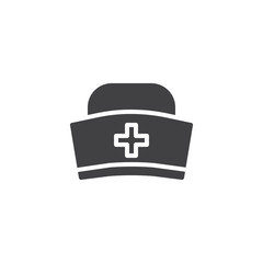 Medical hat icon vector, filled flat sign, solid pictogram isolated on white. Symbol, logo illustration.