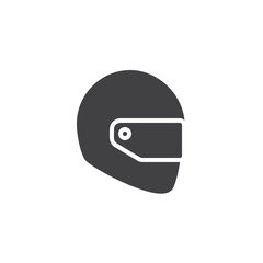 Motorcycle helmet icon vector, filled flat sign, solid pictogram isolated on white.Safety symbol, logo illustration.