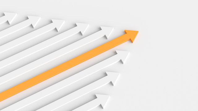 Leadership, success, and teamwork concept, orange leader arrow leading white arrows. 3D Rendering.