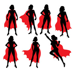 Super Ladies Hero, art vector silhouettes design