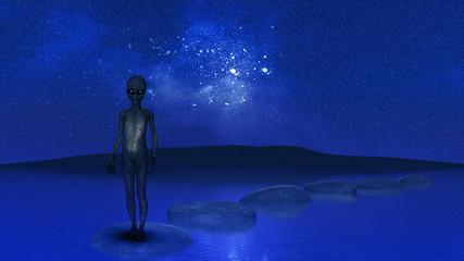 3D alien stood on stepping stones in ocean against night sky