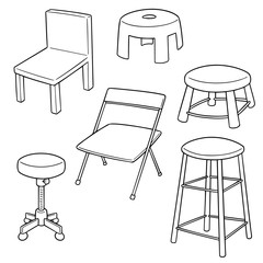 vector set of chairs
