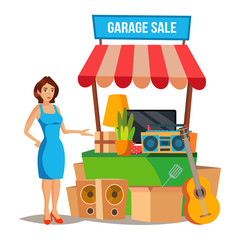 Yard Sale Vector. Household Items Sale. Woman Manning a Garage Sale. Cartoon Character Illustration
