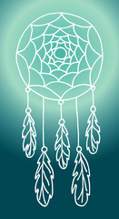 Illustration with hand drawn dream catcher with feathers and beads.