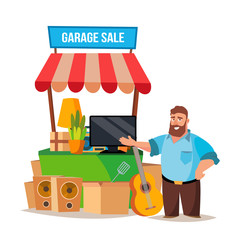Yard Sale Vector. Man Having A Garage Sale. Isolated On White Cartoon Character Illustration