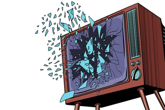 TV explodes, broken screen