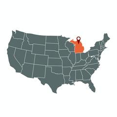 USA-MICHIGAN-map-vector