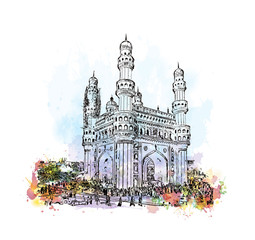 Watercolor sketch with splash of Charminar Hyderabad Telangana India in vector illustration.