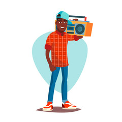 Classic Rapper Man Vector. Modern Musician. Flat Cartoon Illustration