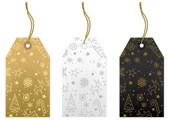 Merry Christmas Tags Set - Gold, White and Black Illustration, Vector