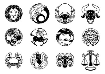 Zodiac astrology horoscope star signs icon set