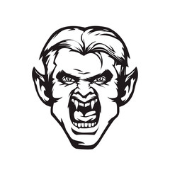 Vampire character monochrome icon. Sticker, print, tattoo. Vector illustration, eps 10.