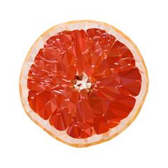 Juicy slice of grapefruit, orange. Polygonal grapefruit. Vector illustration.