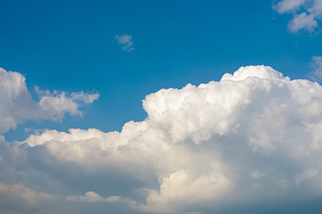 Sunny weather with cumulus clouds on blue sky