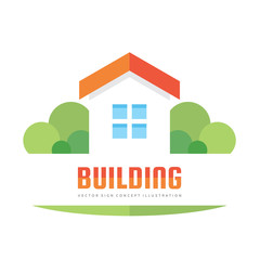 Building - vector logo concept illustration in flat style for presentation, booklet, website and other creative projects. Real estate sign. Design element.