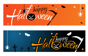 Set Horizontal banner for web banners on a bright orange and dark blue background. Happy Halloween vector lettering. Text with spider and bat for banner, poster, or greeting card.